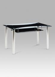 Jídelní stůl 130x80x75 cm, sklo / chrom
