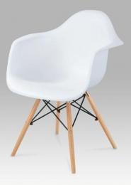 Jídelní židle, plast bílý / natural