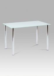 Jídelní stůl 120x80 cm, bílé sklo / chrom