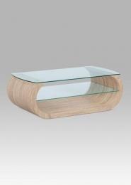 Konferenční stolek, sonoma / čiré sklo
