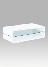 (AF-2051) Konferenční stolek, vysoký lesk bílý / čiré sklo 8 mm