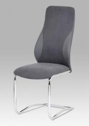 Jídelní židle látka + koženka šedá / chrom