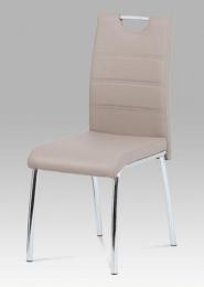 Jídelní židle, koženka lanýž / chrom