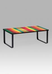 """Konferenční stolek 105x55x38 cm, sklo s potiskem ''duha"""" / černá"""