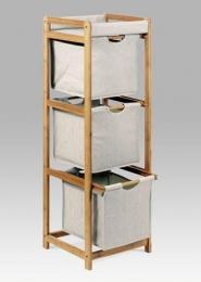 Regál 3 šuplíky, lakovaný bambus a látka