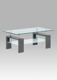 Konferenční stolek 110x60x45 cm, šedý lesk / sklo