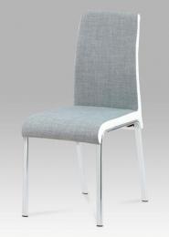 Jídelní židle látka šedá+koženka bílá / chrom
