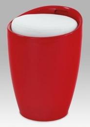 Taburet s úložným prostorem, plast červený / sedák bílá PU