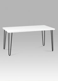 Jídelní stůl 150x80 cm, bílý mat / černý kov