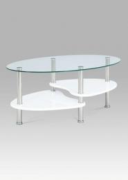 Konferenční stolek, sklo / police vysoký lesk bílý / leštěný nerez