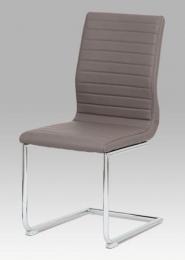 Jídelní židle koženka coffee / chrom