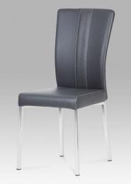 Jídelní židle, chrom / koženka šedá