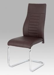 Jídelní židle hnědá koženka / chrom