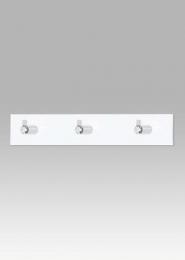 Nástěnný věšák - 3 háčky, bílý akrylát / chrom