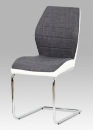 Jídelní židle šedá látka + bílá koženka / chrom