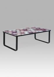 """Konferenční stolek 105x55x32 cm, sklo s potiskem """"korek""""/černá"""