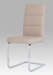 NEW Jídelní židle koženka cappuccino / chrom