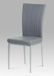Jídelní židle koženka šedá / šedý lak