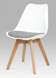 Jídelní židle bílý plast / šedá tkanina / natural