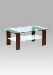 Konferenční stolek 110x65x45 cm, ořech / čiré sklo 8 mm