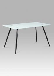 Jídelní stůl 140x80x75 cm mléčné sklo + nohy černý lak