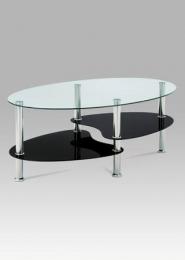 Konferenční stolek, čiré sklo / černé sklo / leštěný nerez