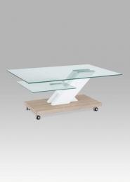 Konferenční stolek 110x70x46 cm, vysoký lesk bílý / sonoma / čiré sklo