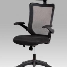 Kancelářská židle, houpací mech., černá MESH, plastový kříž