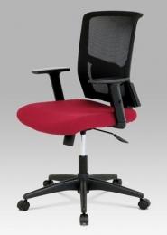 Kancelářská židle, látka černá + vínová, houpací mechnismus