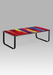 """Konferenční stolek 105x55x32 cm, sklo s potiskem """"duha"""" / černá"""