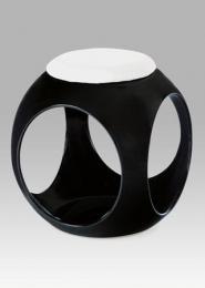 Taburet, plast černý / sedák bílá PU