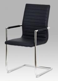 Konferenční židle černá koženka / chrom