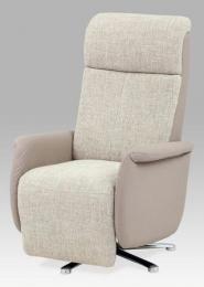 Relaxační křeslo, koženka lanýžová/látka cappuccino, chrom
