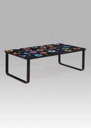 """Konferenční stolek 105x55x32 cm, sklo s potiskem """"LP""""/černá"""